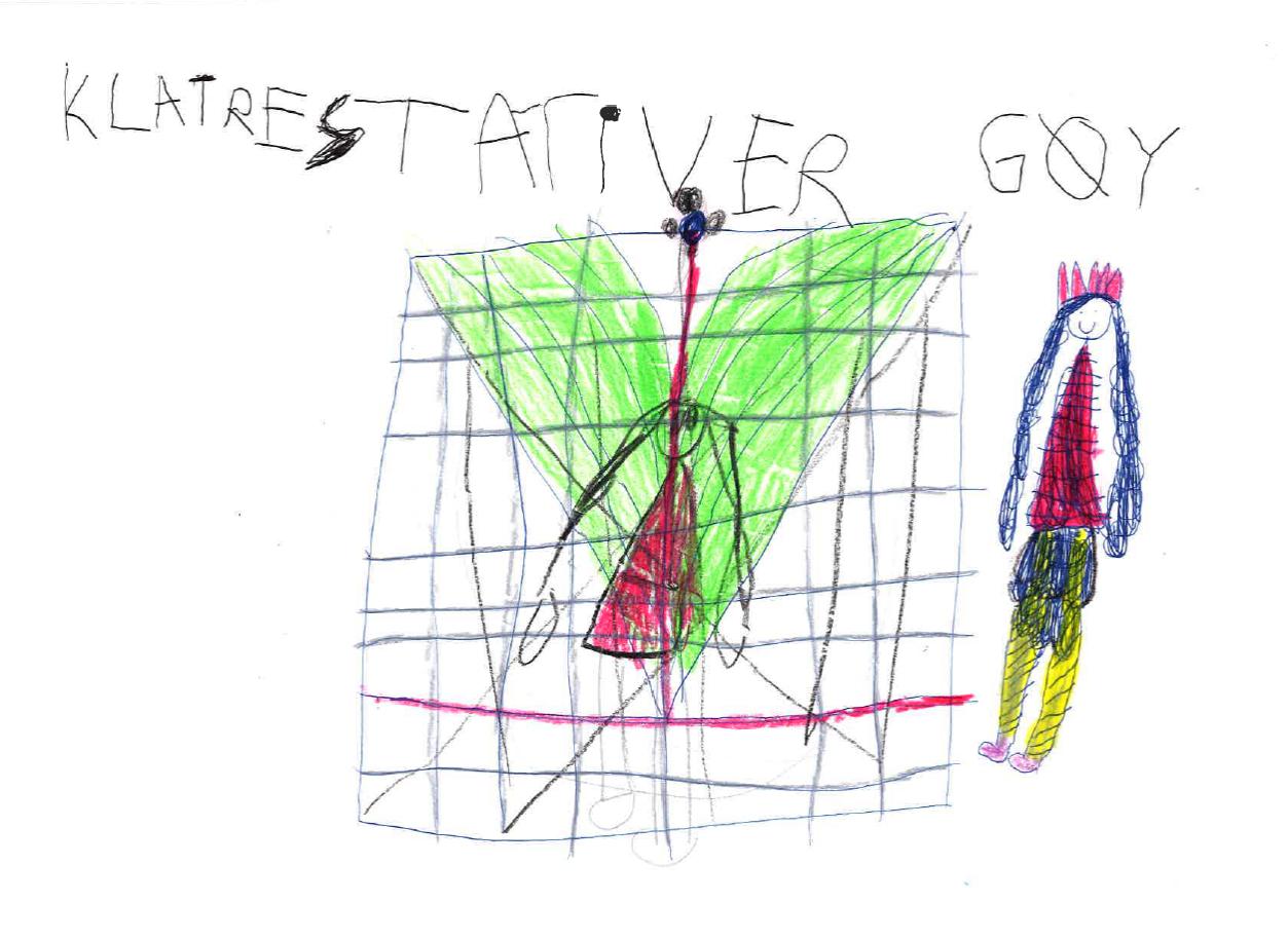 """Barnetegning med teksten """"klatrestativ er gøy"""""""
