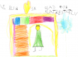 """Barnetegning med teksten """"Vi blir så glad for et klatrestativ"""""""