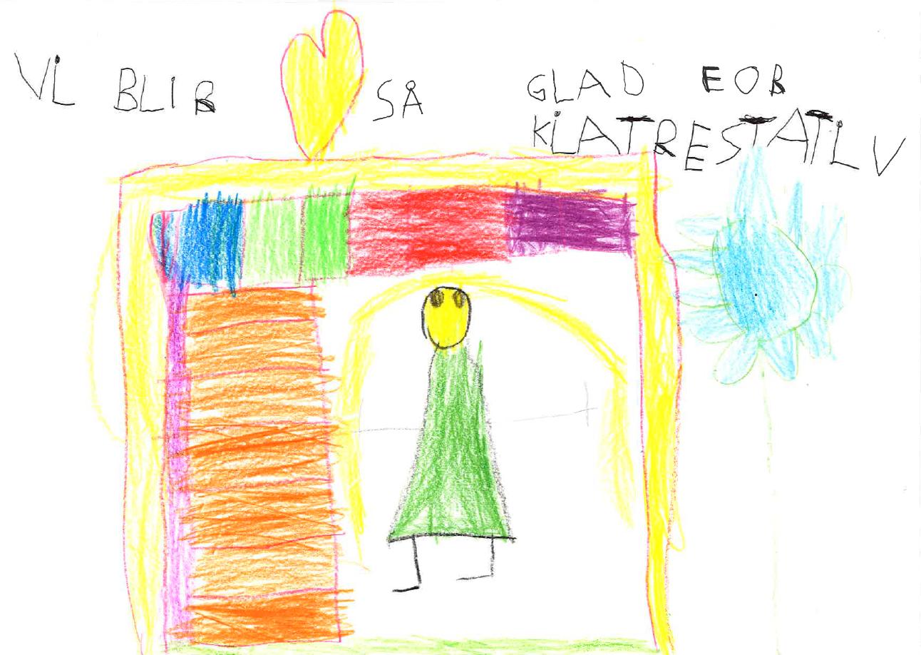 """Fargerik barnetegning med teksten """"Vi blir så glad for et klatrestativ"""""""