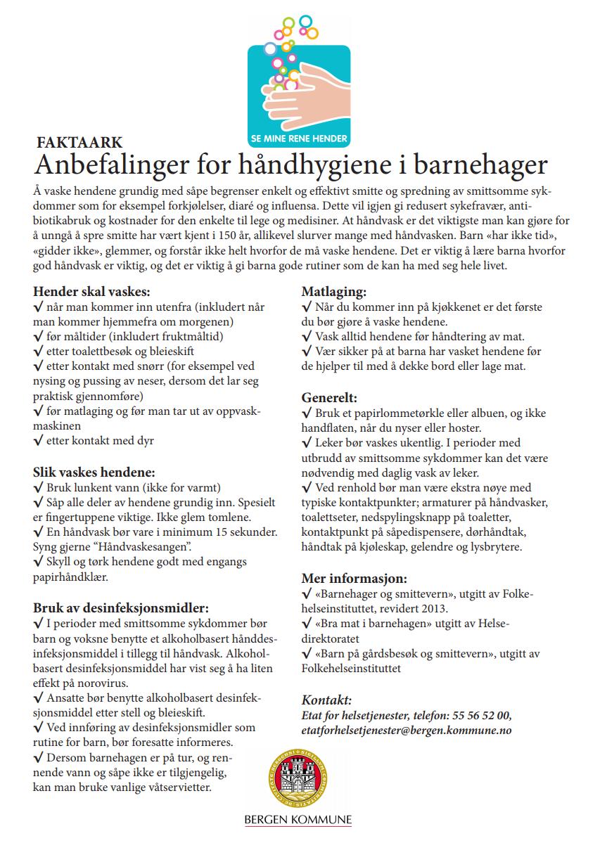 """Utskriftsvennlig faktaark fra Bergen kommune, """"Anbefalinger for håndhygiene i barnehager"""""""