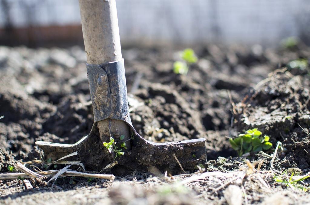 spade i jord