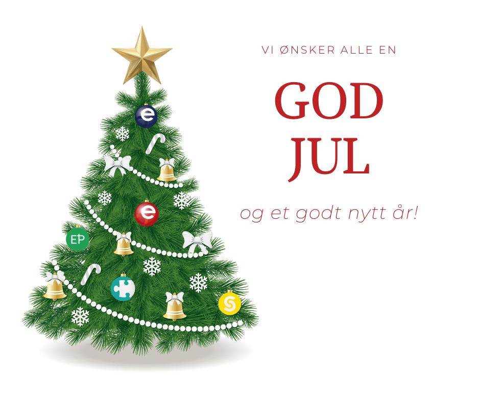 """Et juletre pyntet med julekuler av logo til PVS, Eterni Norge, Snaptemp, Elektro personell - alle en del av Eterni gruppen, med skriften """"Vi ønsker alle en GOD JUL og et godt nytt år"""" til høyre i bildet"""